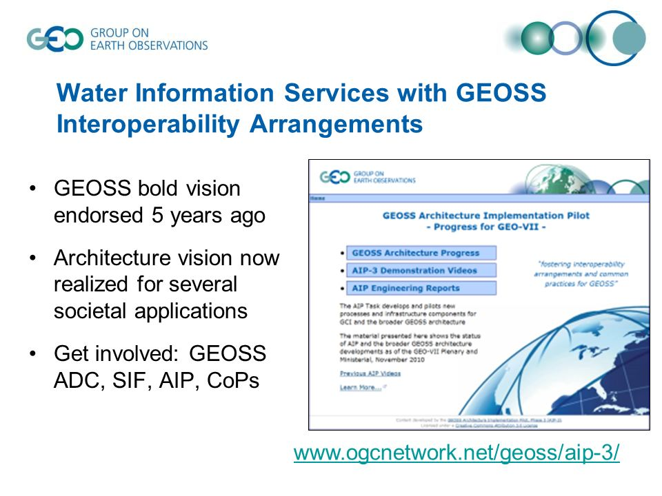 Water Information Services with GEOSS Interoperability Arrangements