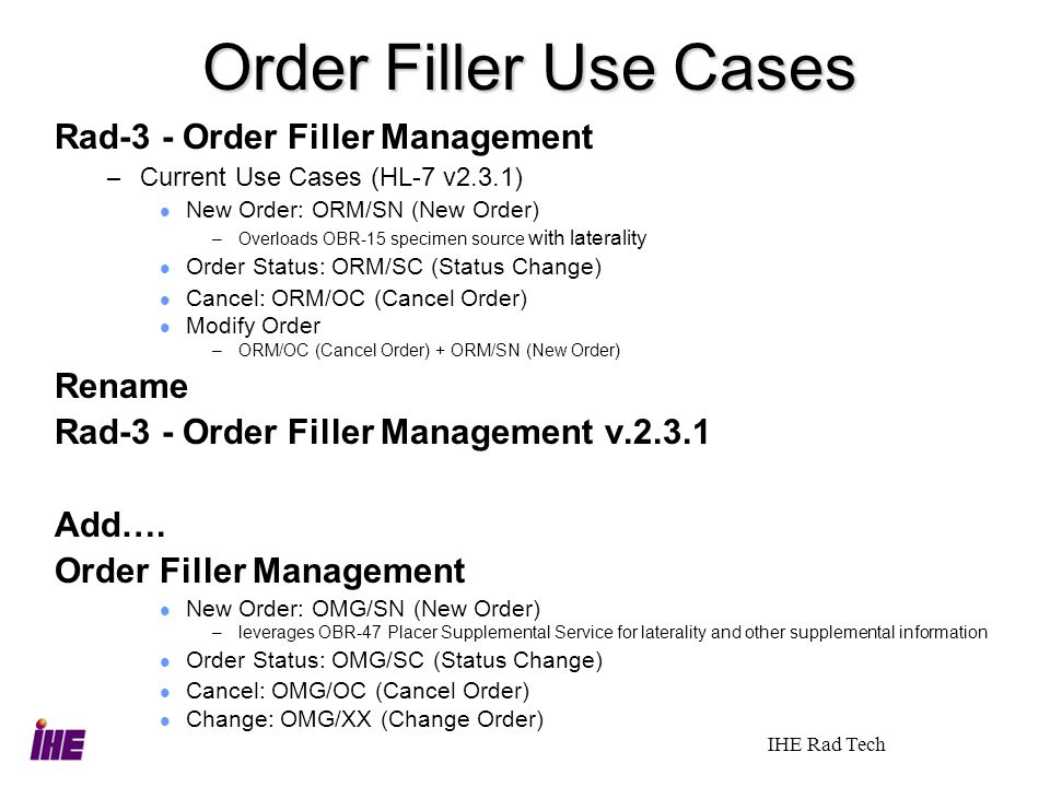 Order Filler Use Cases Rad-3 - Order Filler Management Rename