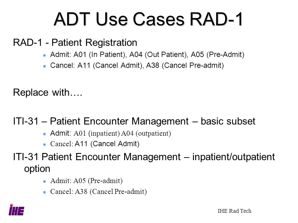 ADT Use Cases RAD-1 RAD-1 - Patient Registration Replace with….