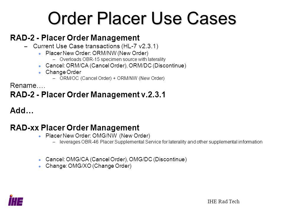 Order Placer Use Cases RAD-2 - Placer Order Management