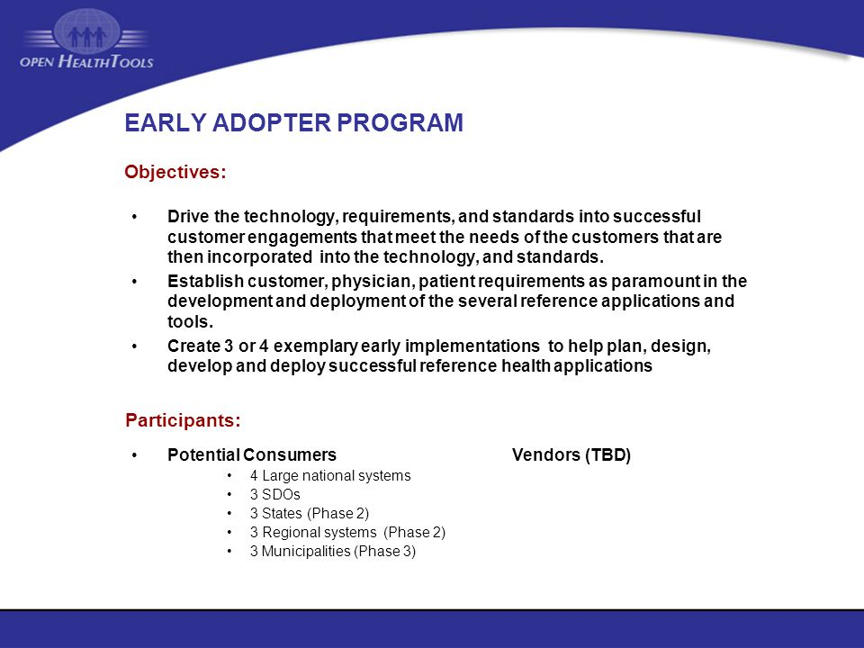 EARLY ADOPTER PROGRAM Objectives: Participants: