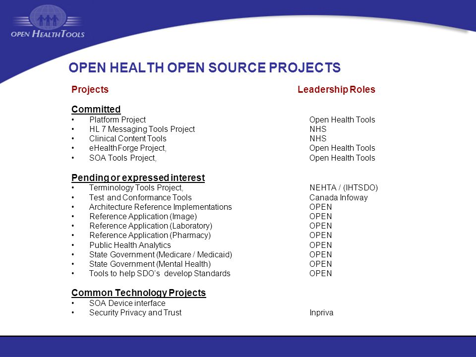 OPEN HEALTH OPEN SOURCE PROJECTS