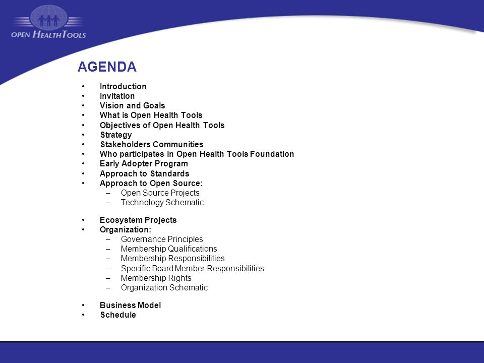 AGENDA Introduction Invitation Vision and Goals