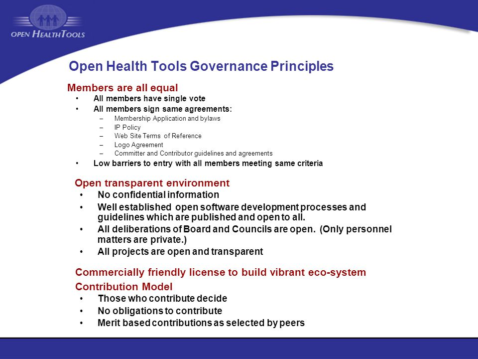 Open Health Tools Governance Principles