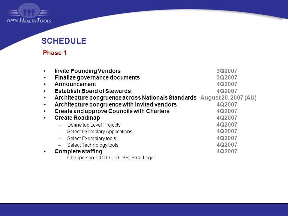 SCHEDULE Phase 1 Invite Founding Vendors 3Q2007