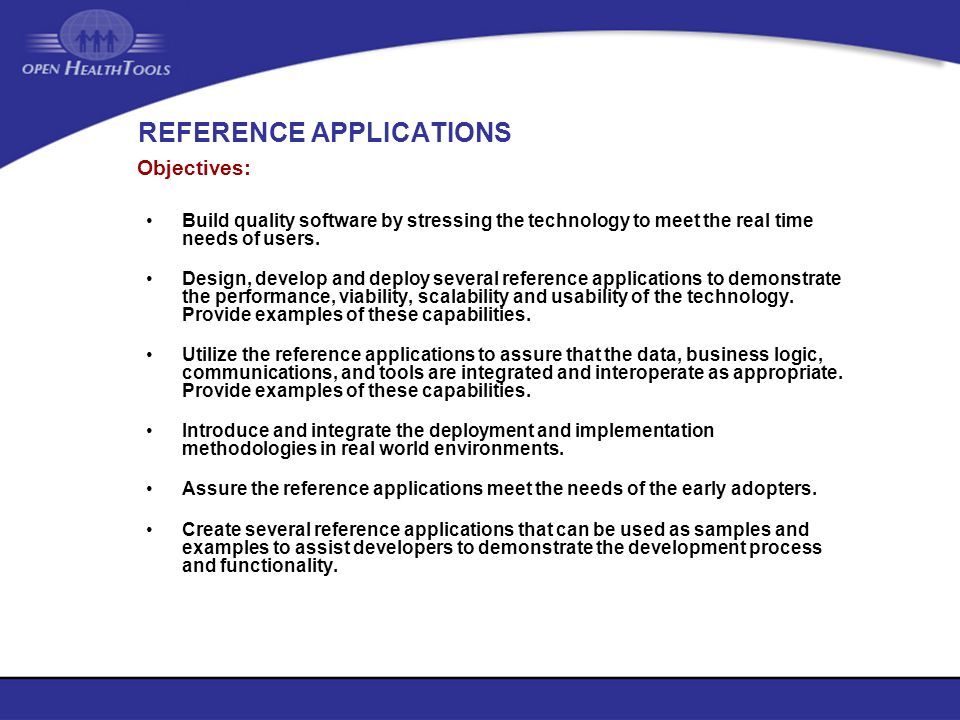 REFERENCE APPLICATIONS