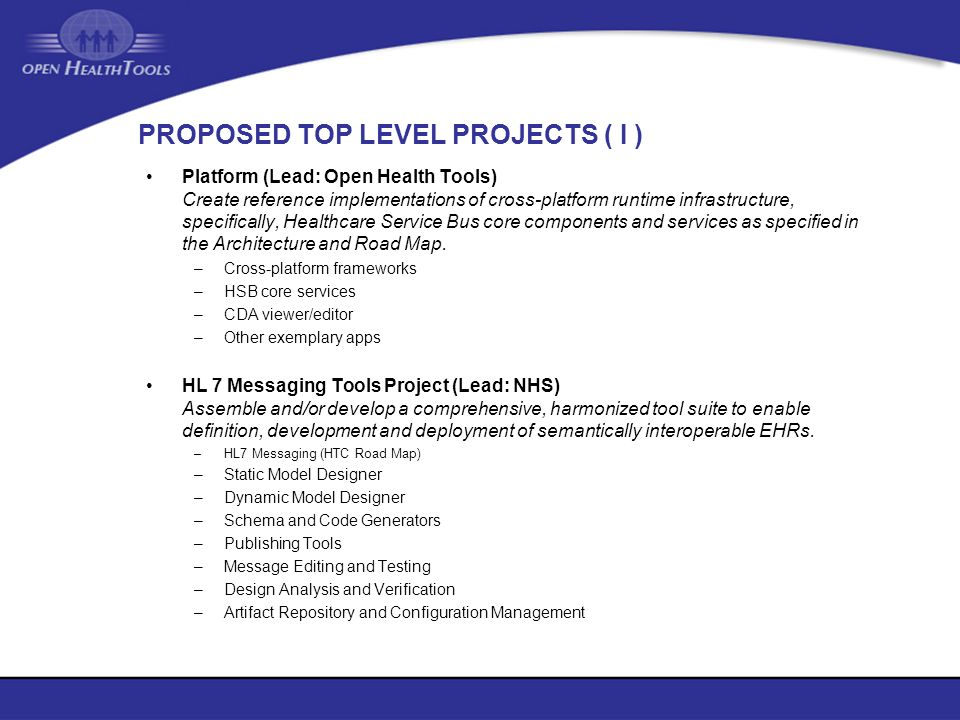 PROPOSED TOP LEVEL PROJECTS ( I )