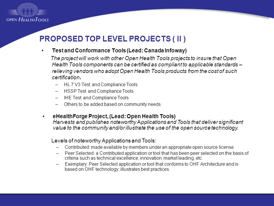 PROPOSED TOP LEVEL PROJECTS ( II )
