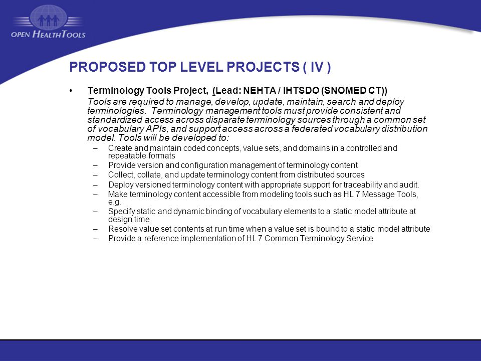 PROPOSED TOP LEVEL PROJECTS ( IV )