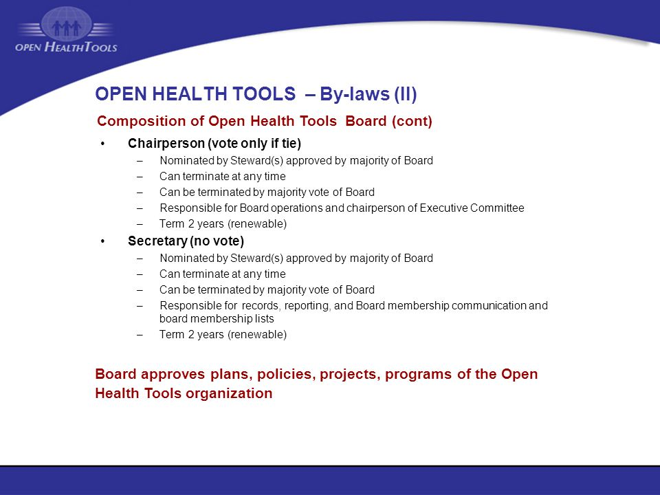 OPEN HEALTH TOOLS – By-laws (II)