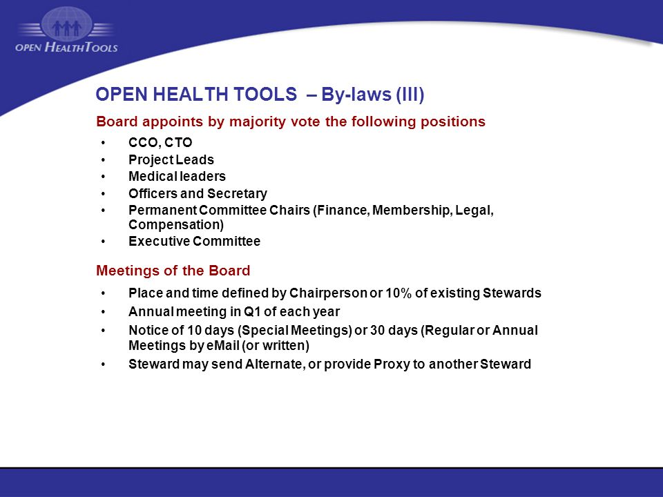 OPEN HEALTH TOOLS – By-laws (III)
