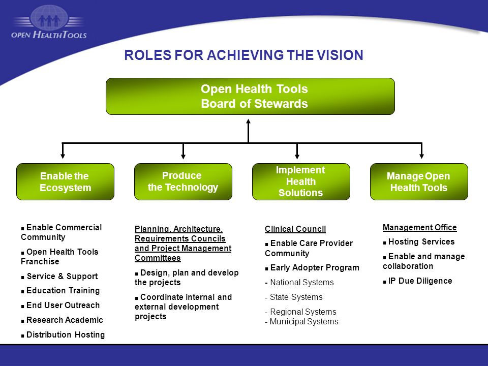 ROLES FOR ACHIEVING THE VISION