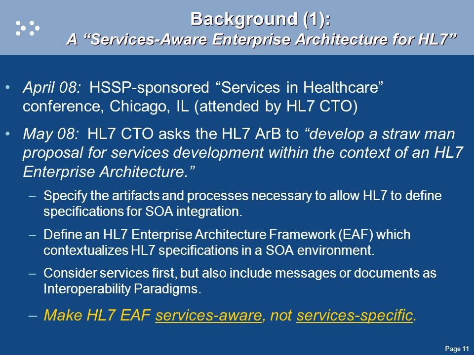 Background (1): A Services-Aware Enterprise Architecture for HL7