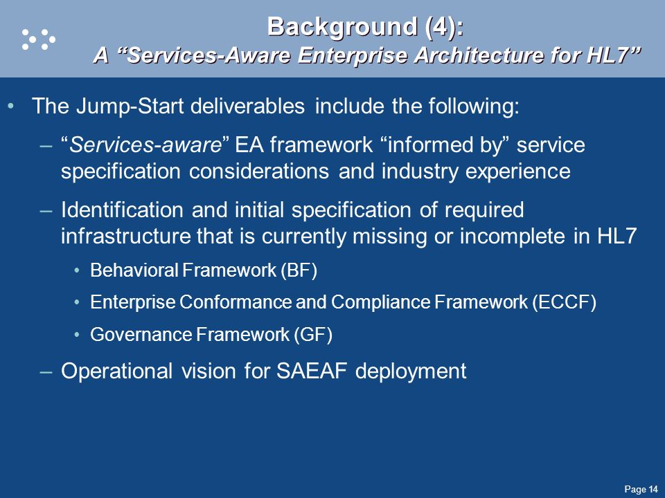Background (4): A Services-Aware Enterprise Architecture for HL7