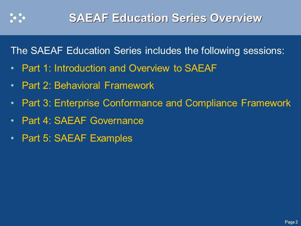SAEAF Education Series Overview