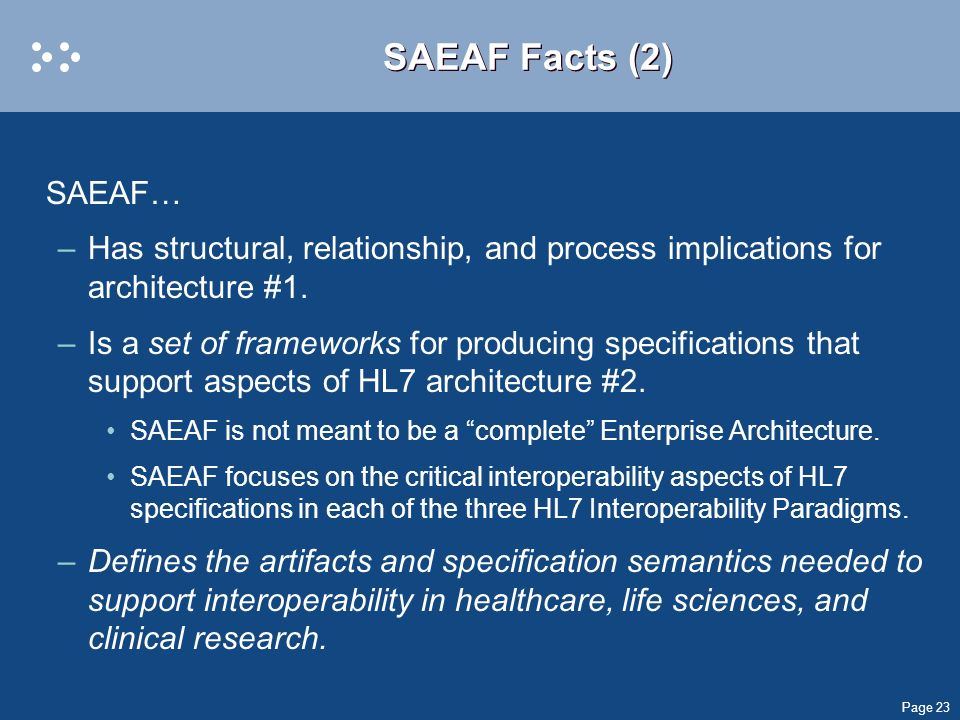 SAEAF Facts (2) SAEAF… Has structural, relationship, and process implications for architecture #1.