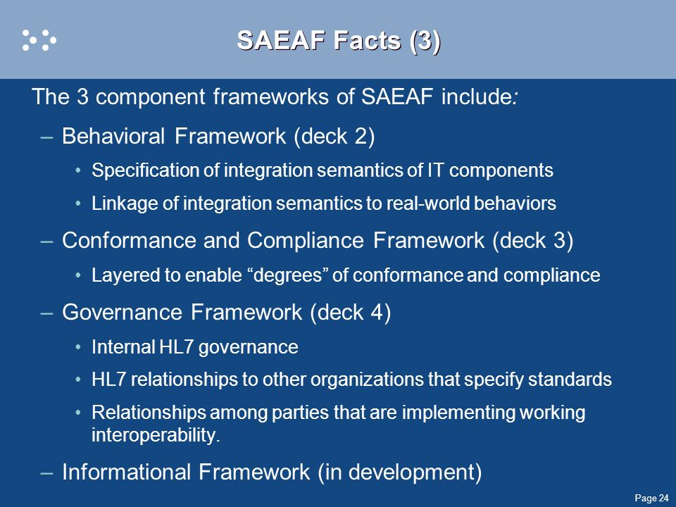 SAEAF Facts (3) The 3 component frameworks of SAEAF include: