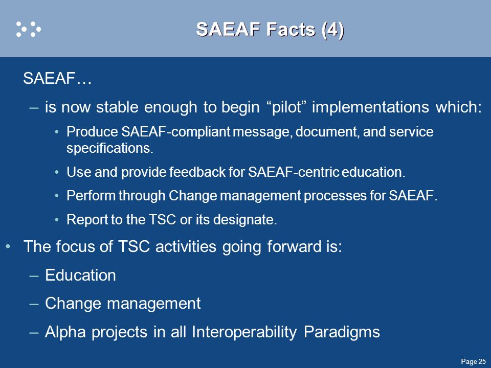 SAEAF Facts (4) SAEAF… is now stable enough to begin pilot implementations which: