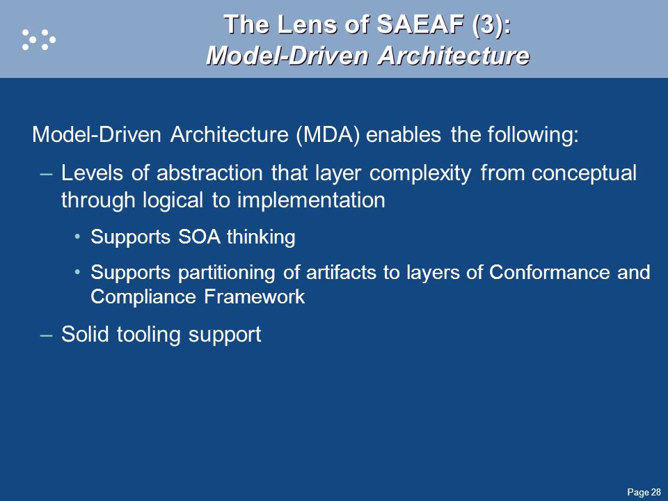 The Lens of SAEAF (3): Model-Driven Architecture