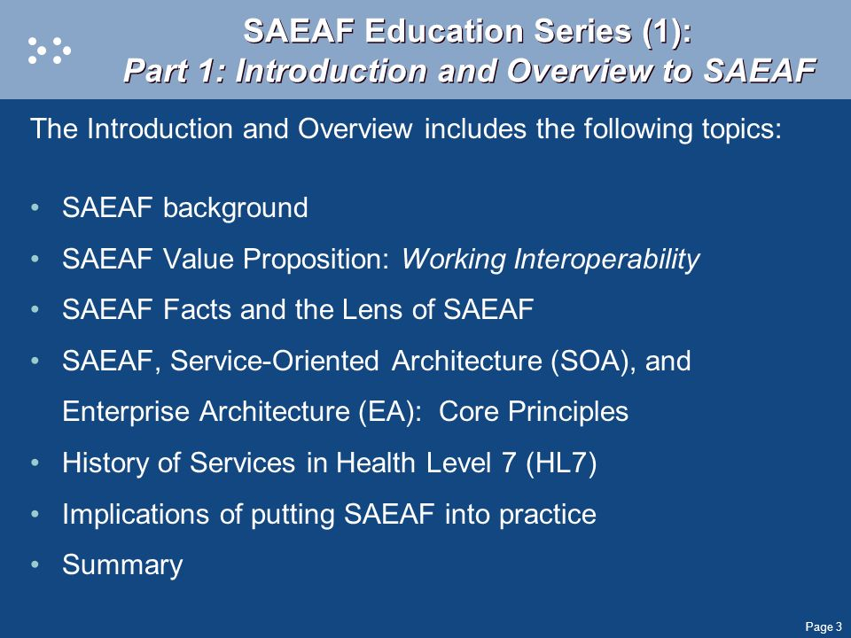 SAEAF Education Series (1): Part 1: Introduction and Overview to SAEAF
