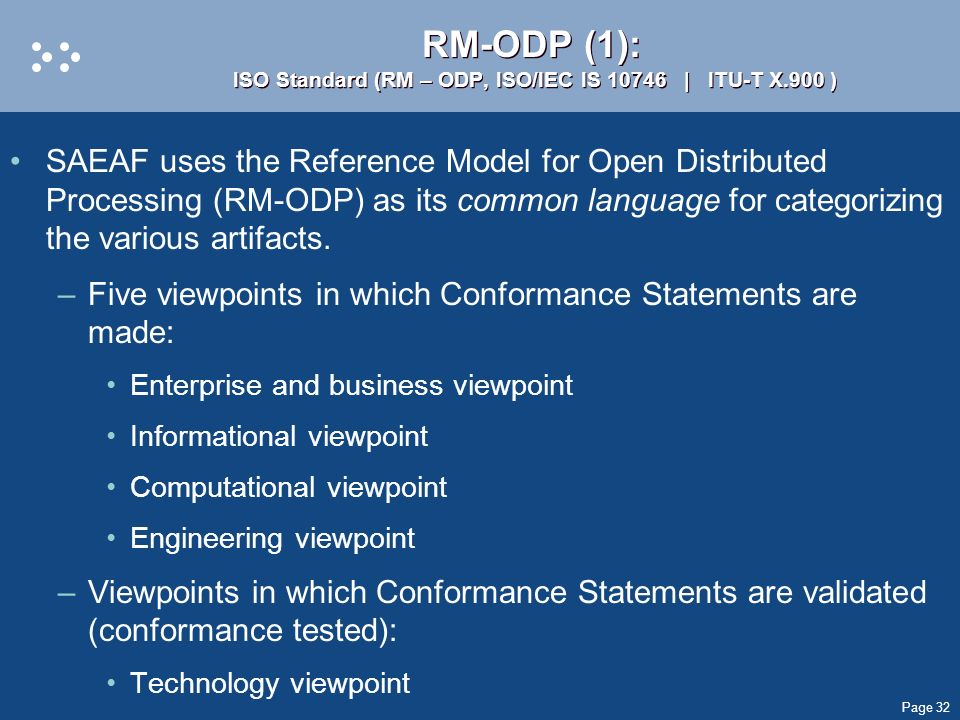 RM-ODP (1): ISO Standard (RM – ODP, ISO/IEC IS 10746 | ITU-T X.900 )