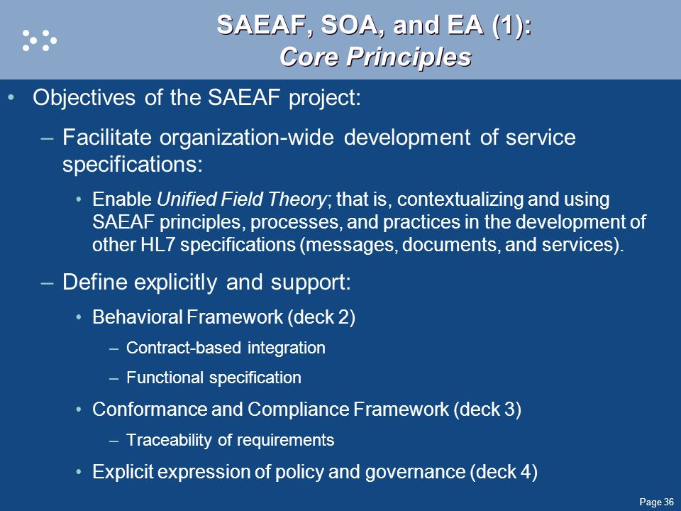SAEAF, SOA, and EA (1): Core Principles