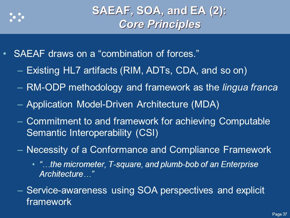 SAEAF, SOA, and EA (2): Core Principles