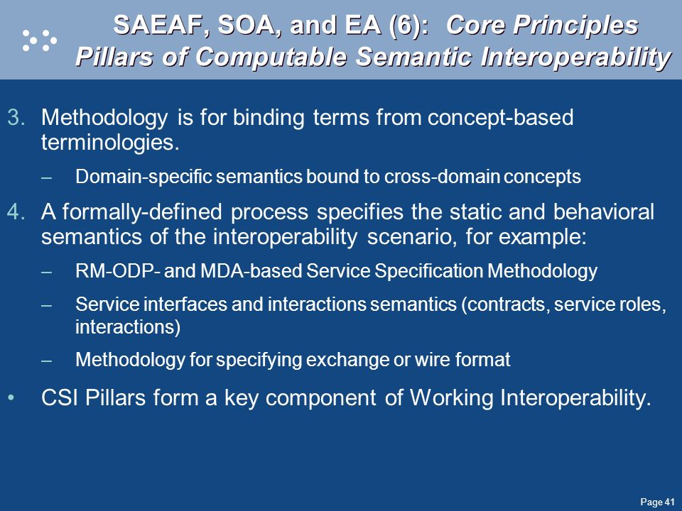 SAEAF, SOA, and EA (6): Core Principles Pillars of Computable Semantic Interoperability