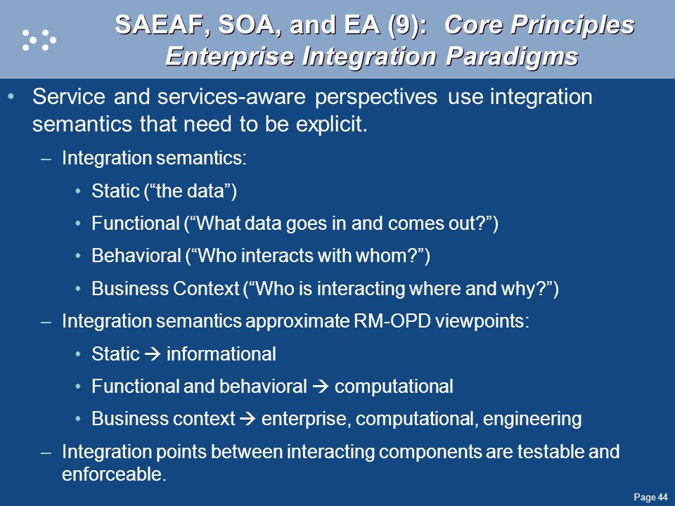 SAEAF, SOA, and EA (9): Core Principles Enterprise Integration Paradigms