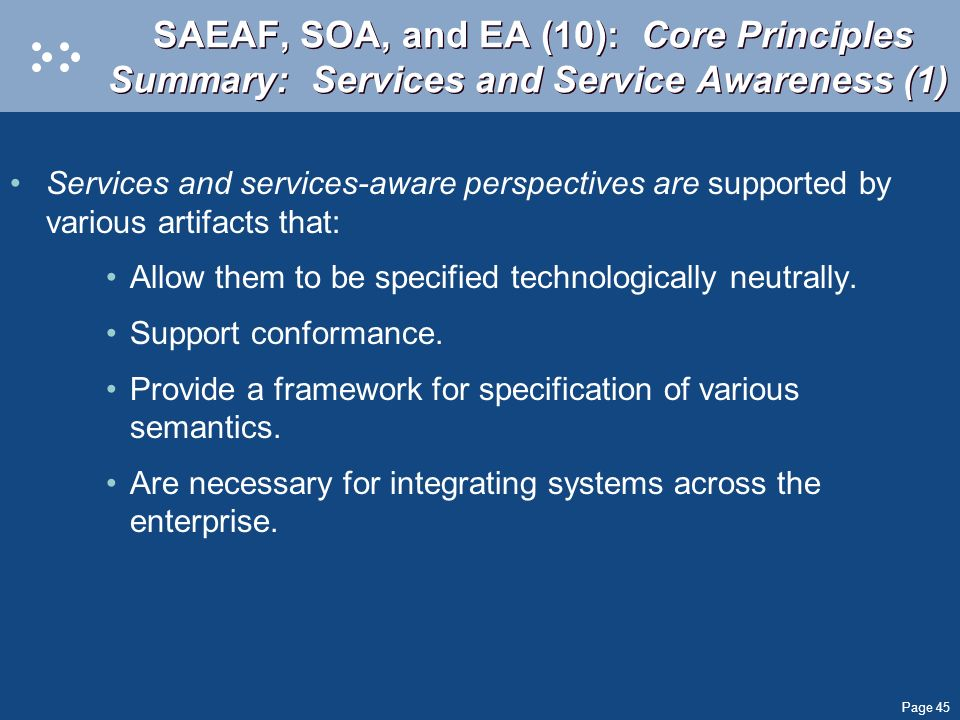 SAEAF, SOA, and EA (10): Core Principles Summary: Services and Service Awareness (1)