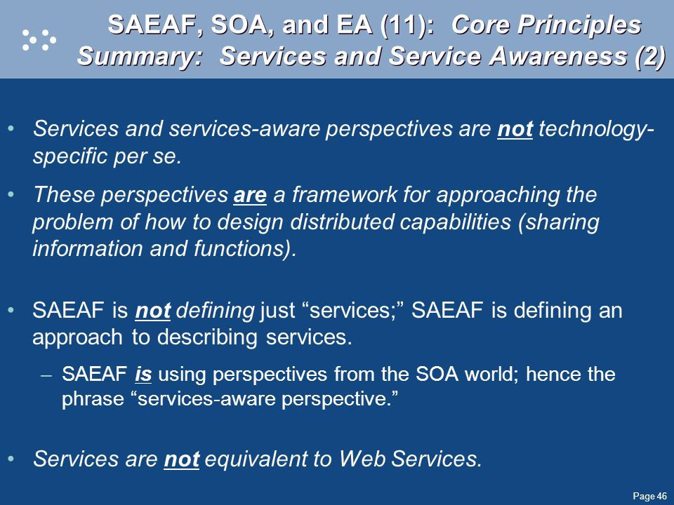 SAEAF, SOA, and EA (11): Core Principles Summary: Services and Service Awareness (2)