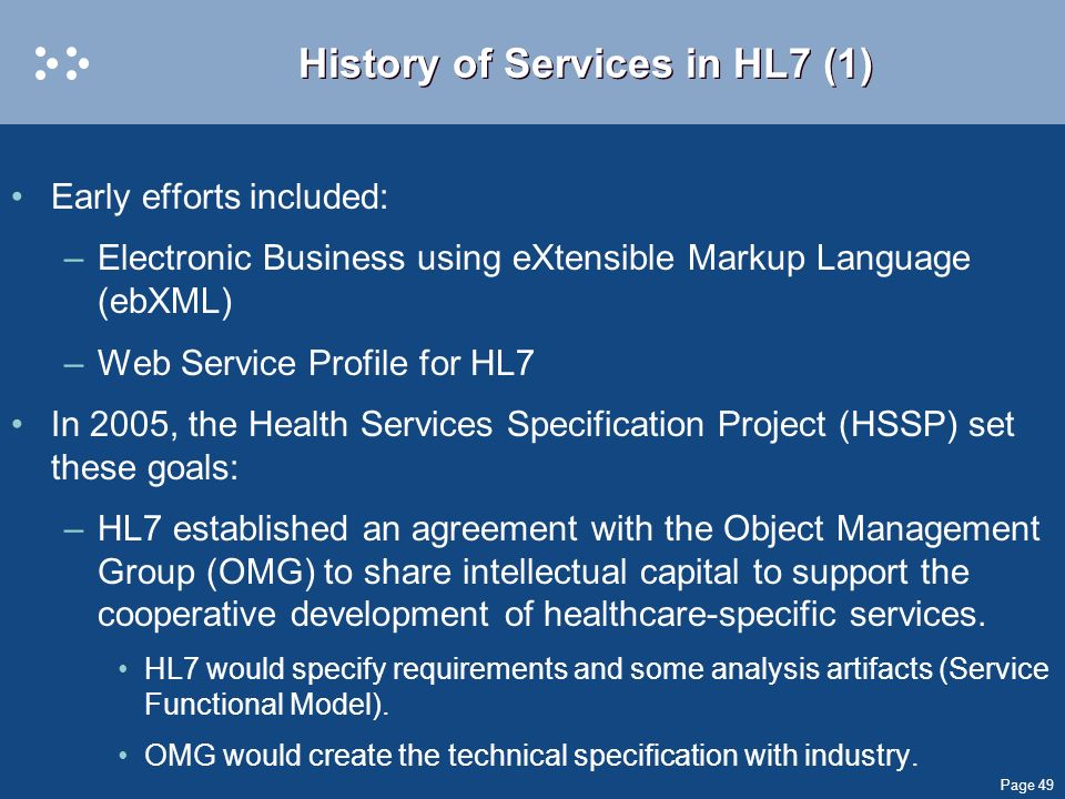 History of Services in HL7 (1)