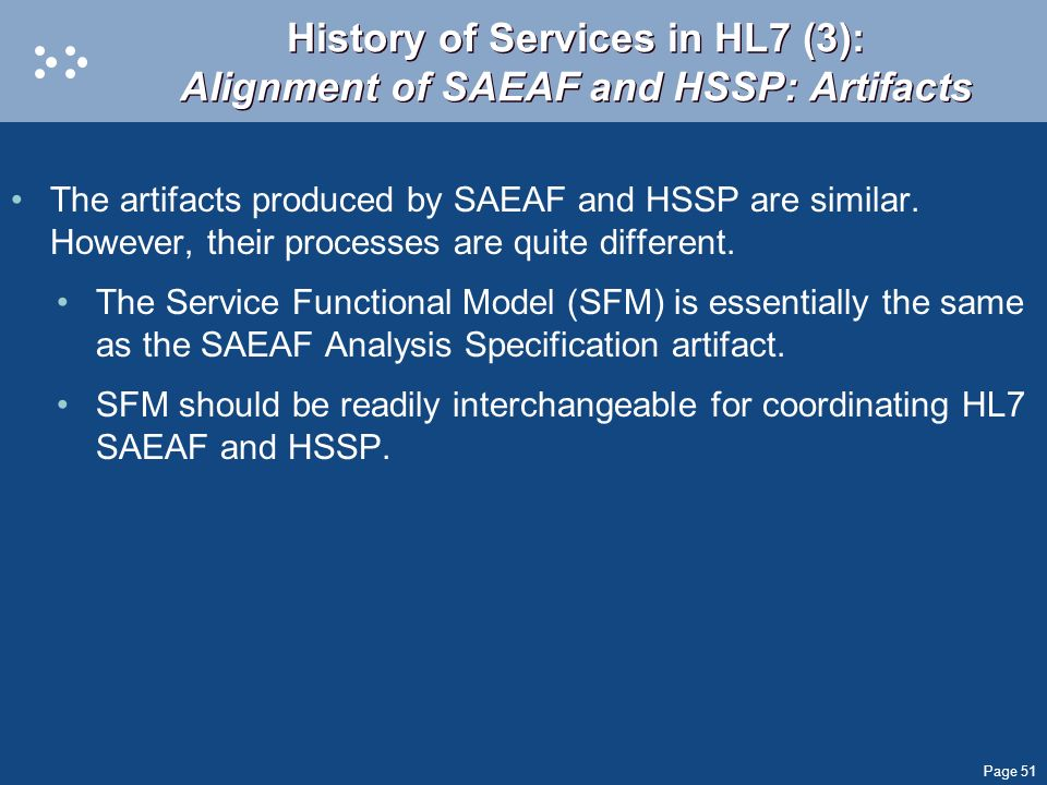 History of Services in HL7 (3): Alignment of SAEAF and HSSP: Artifacts