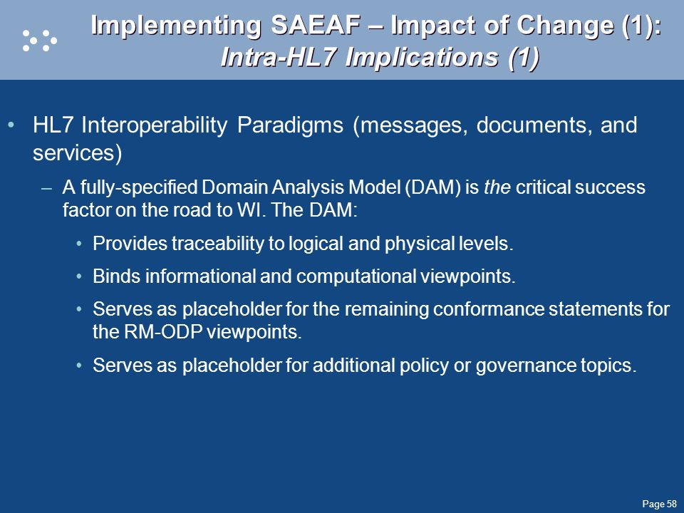 Implementing SAEAF – Impact of Change (1): Intra-HL7 Implications (1)