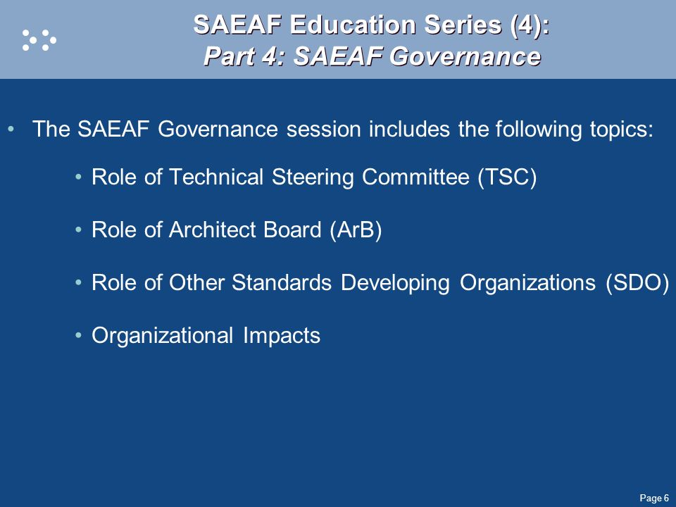 SAEAF Education Series (4): Part 4: SAEAF Governance