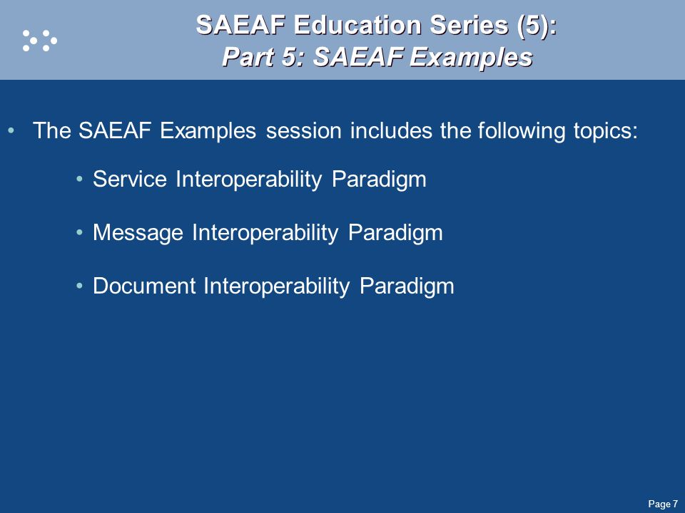 SAEAF Education Series (5): Part 5: SAEAF Examples