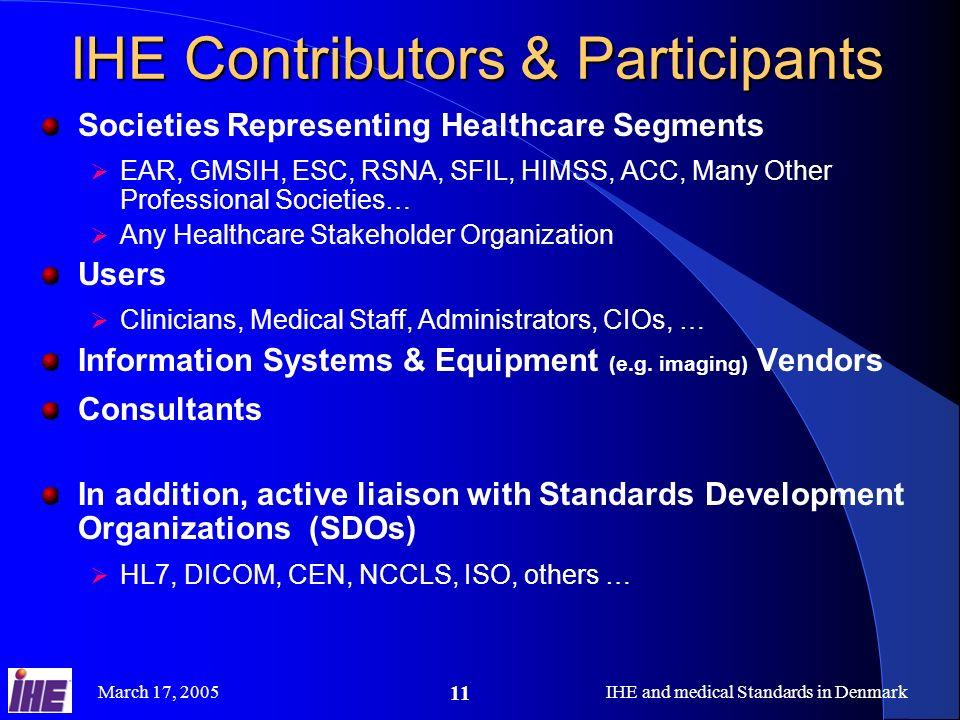 IHE Contributors & Participants