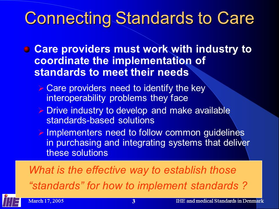 Connecting Standards to Care