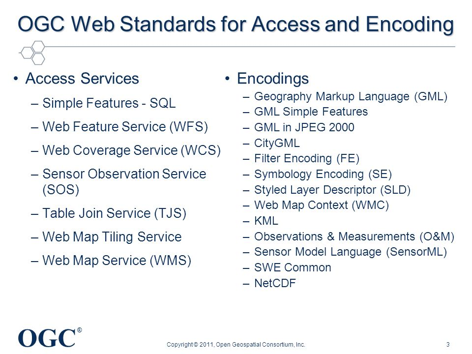OGC Web Standards for Access and Encoding