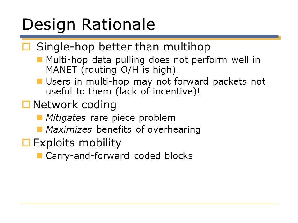 Design Rationale Single-hop better than multihop Network coding