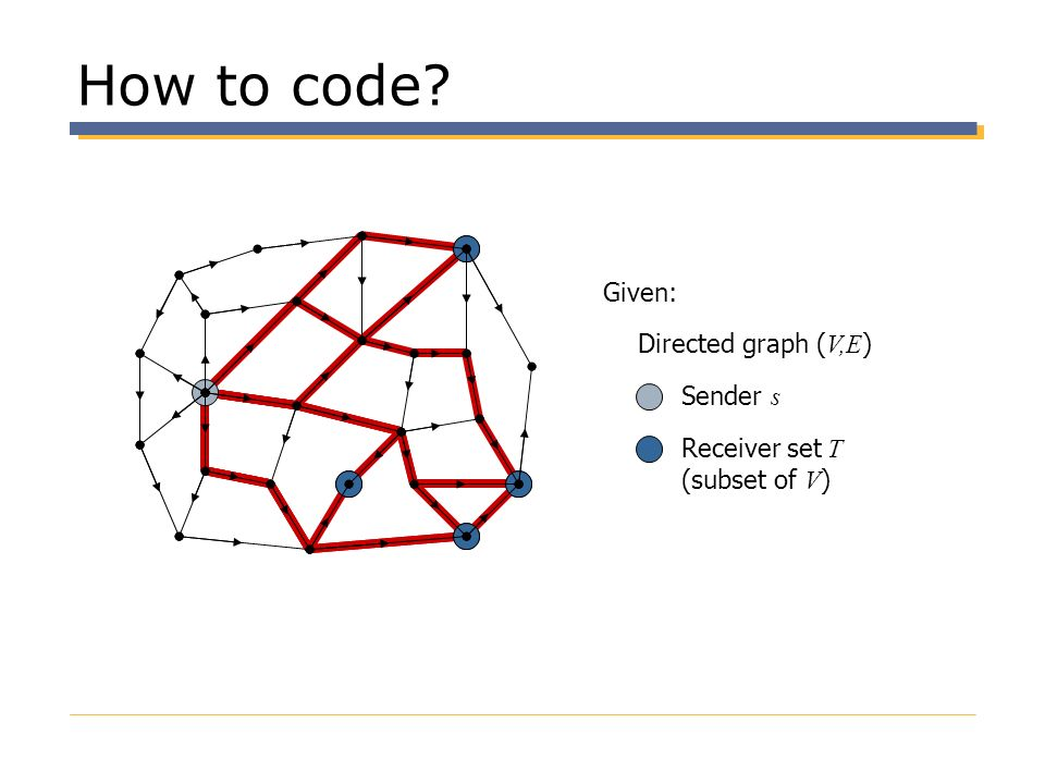 How to code Given: Directed graph (V,E) Sender s