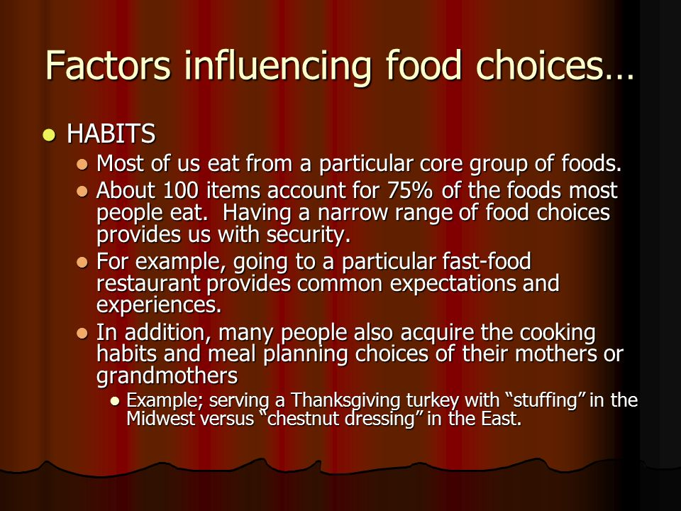 cultural influences on eating out habits Social influences on eating are powerful and pervasive  but also shared cultural expectations and environmental cues  these are the first laboratory based studies to show that exposure to a message emphasising the healthy eating habits of other students increases actual intake of fruit and vegetables when compared with exposure to a.