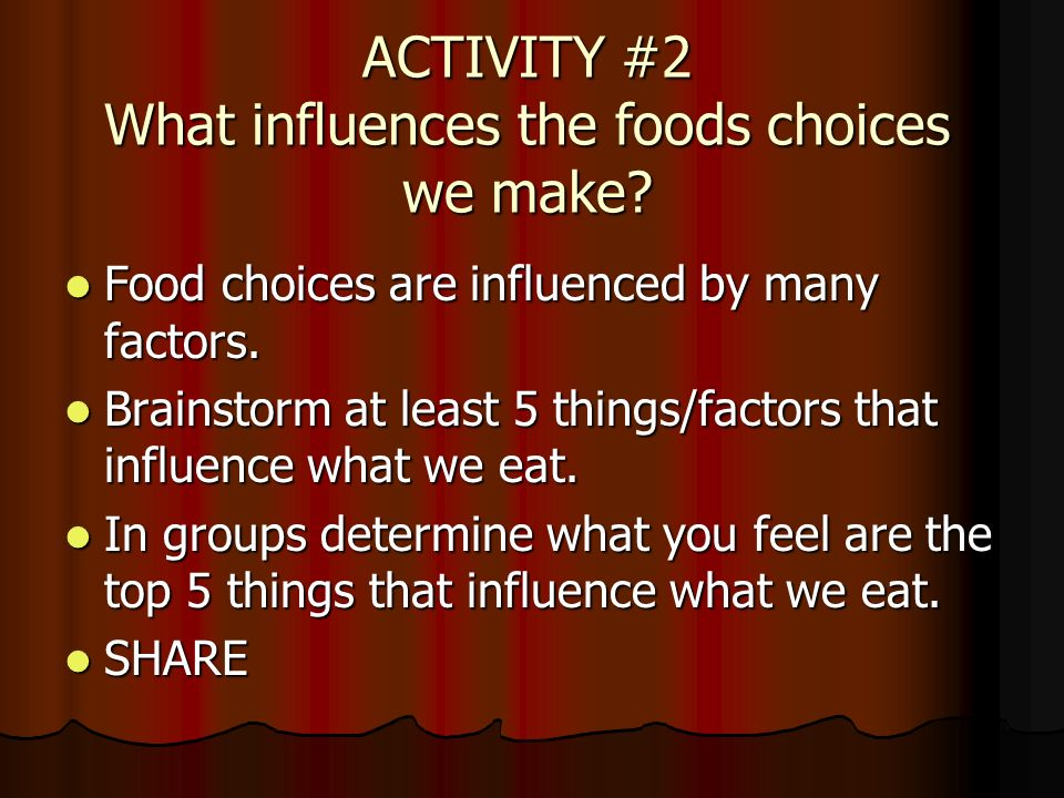 influences on my familys food choices Health and social behaviour: social, behavioural and other determinants of the choice of diet diet choice is a complex area because there are a number of factors that affect the population's and an individual's choice of food.
