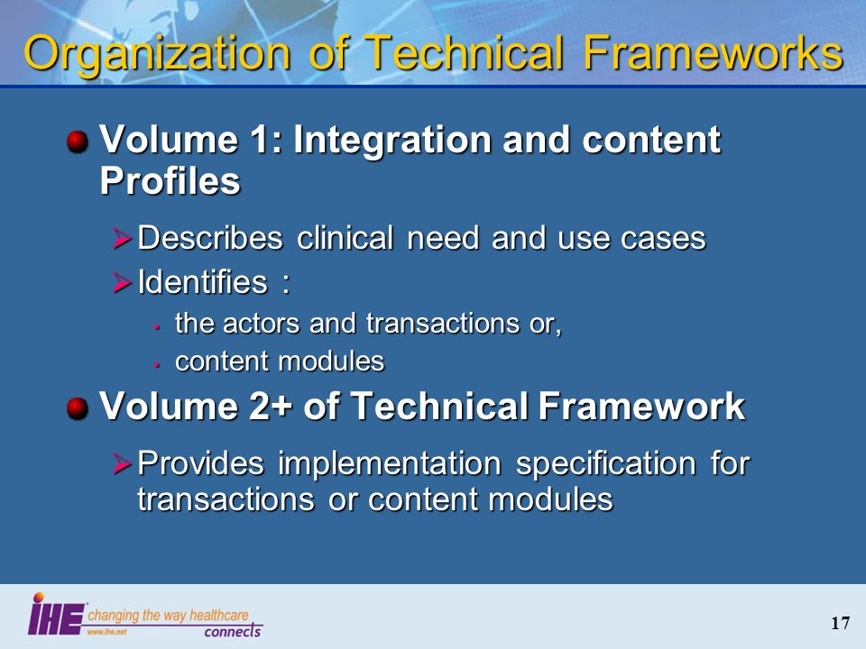 Organization of Technical Frameworks