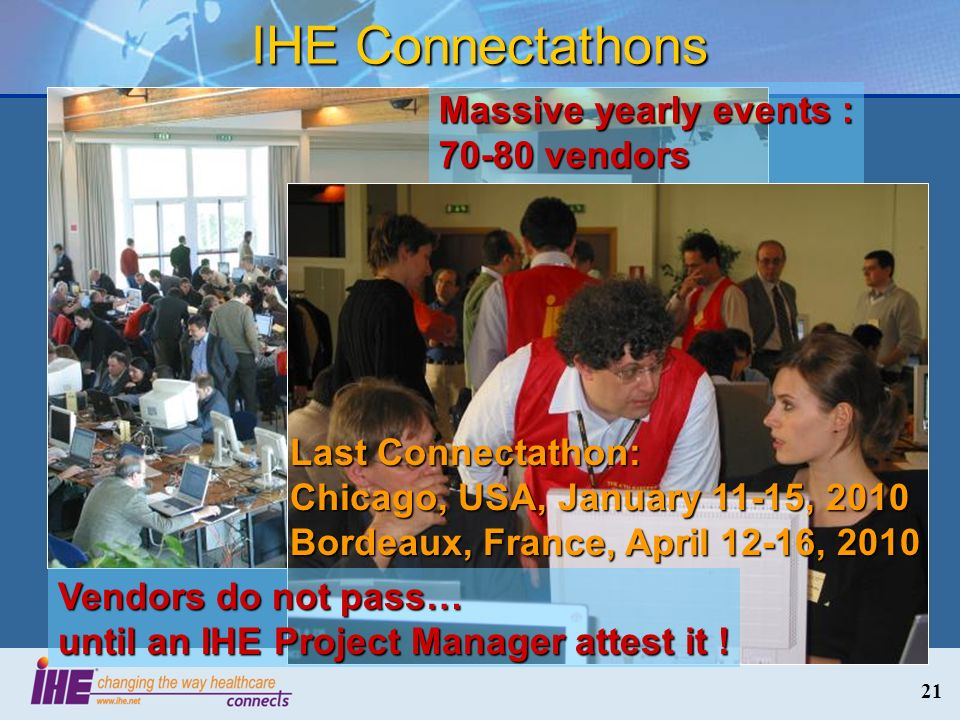 IHE Connectathons Massive yearly events : 70-80 vendors