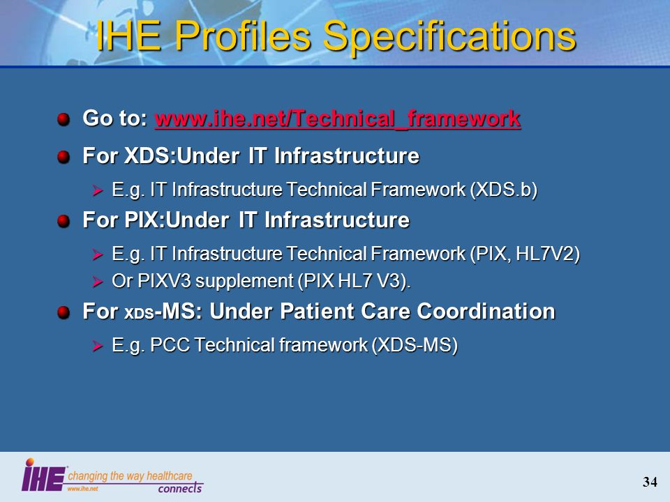 IHE Profiles Specifications