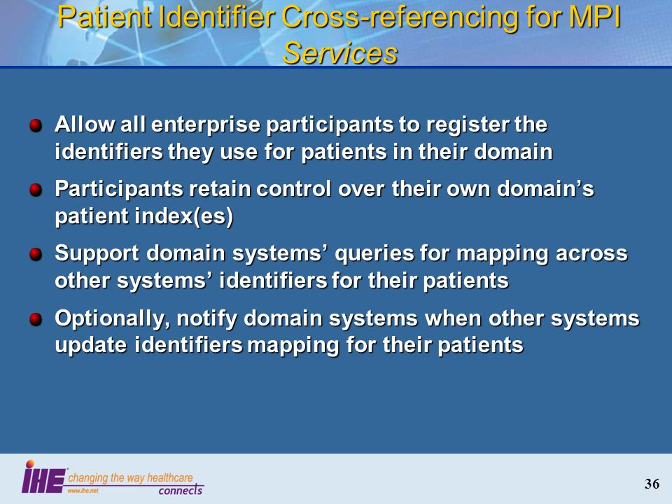 Patient Identifier Cross-referencing for MPI Services