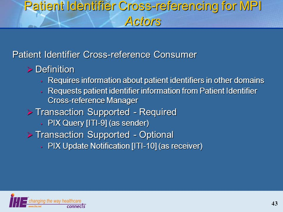 Patient Identifier Cross-referencing for MPI Actors
