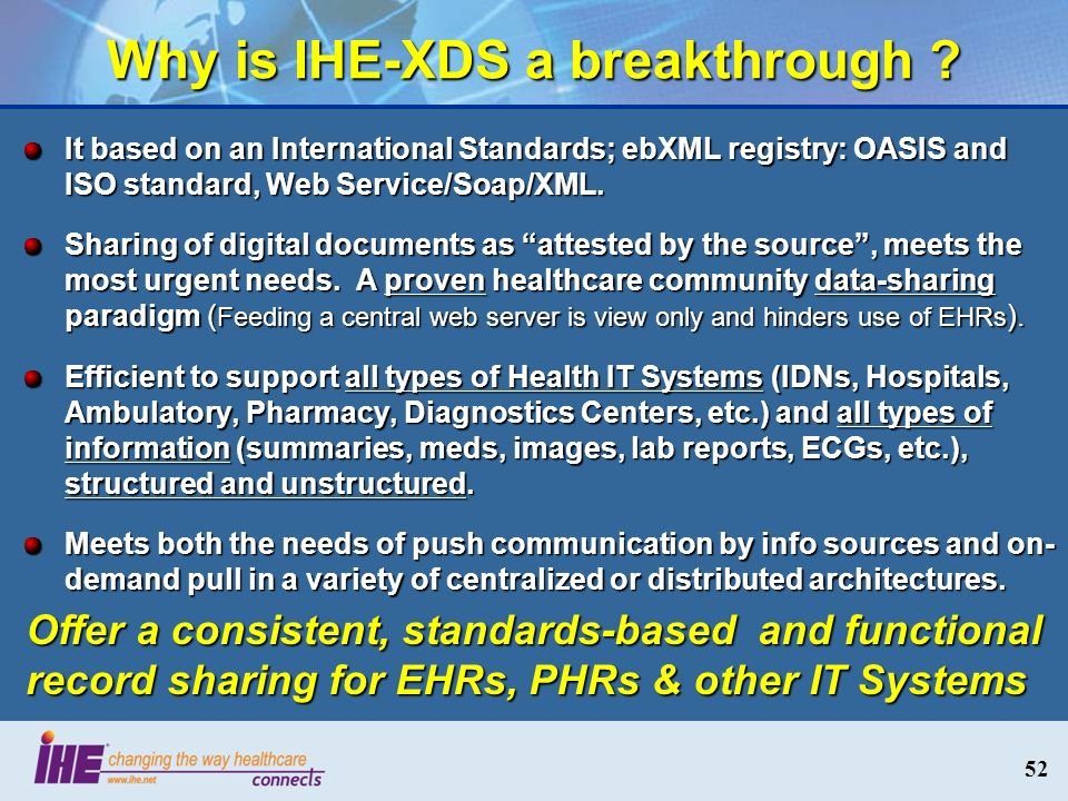 Why is IHE-XDS a breakthrough