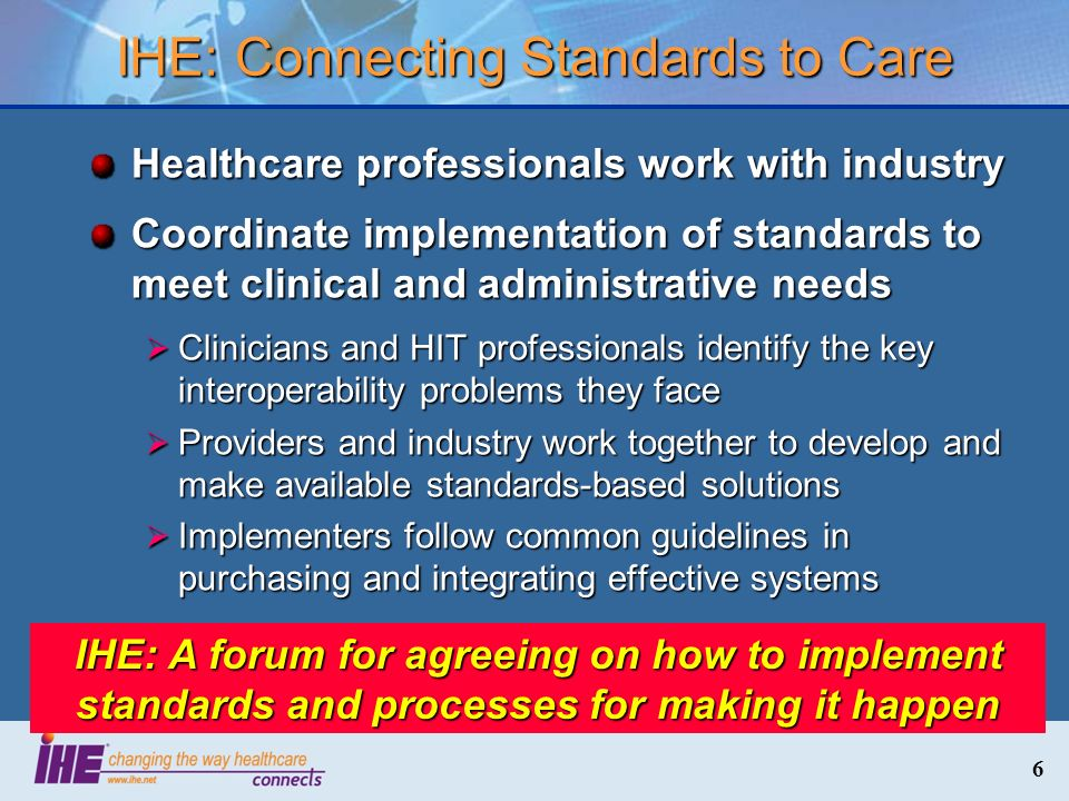 IHE: Connecting Standards to Care
